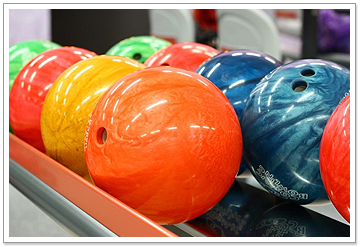 Colored Bowling Balls in Bowling Alley in Mount Pleasant, TX